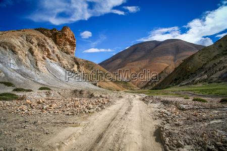 dirt gravel mountain road through central