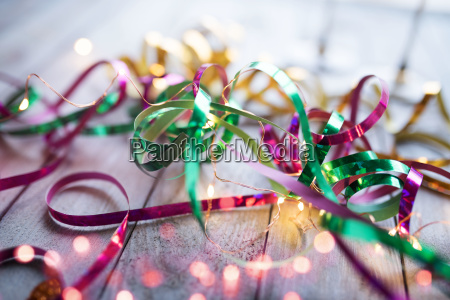 colorful glittering streamers with light string