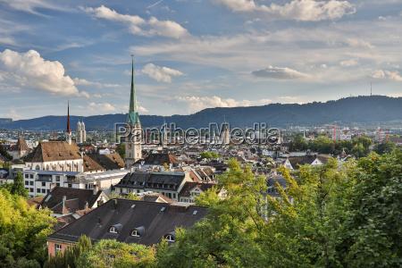 aerial view of zurich city center