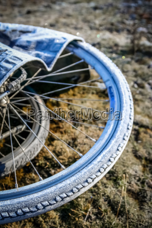 frozen bicycles wheels and tyres