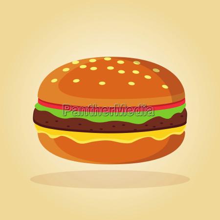 burger in flachem designkonzept