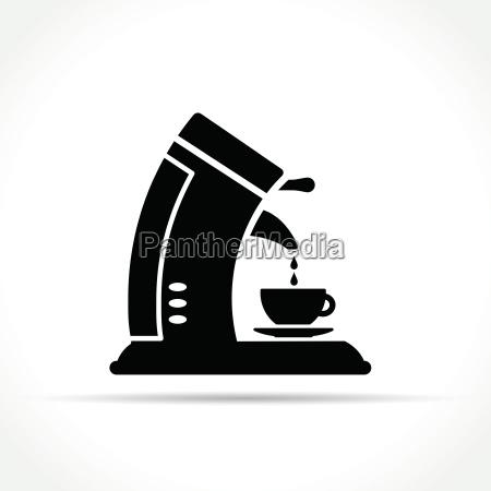 kaffeemaschine symbol auf weissem hintergrund