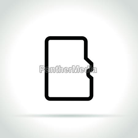speicherkartensymbol auf weissem hintergrund