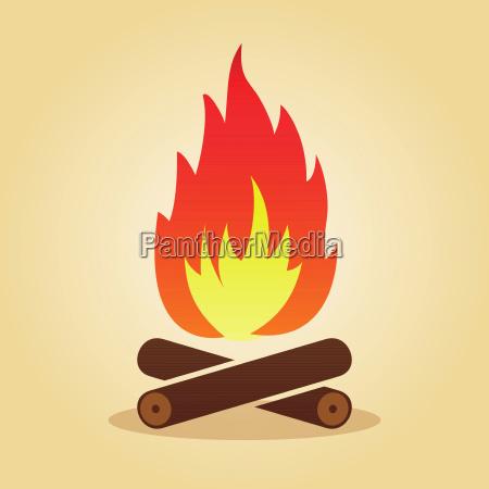 lagerfeuer im flachen gestaltungskonzept