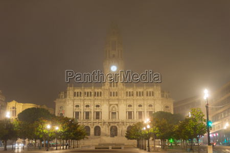 foggy porto city hall portugal