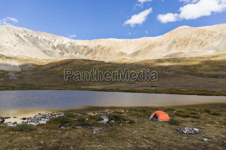camping tent near kite lake and