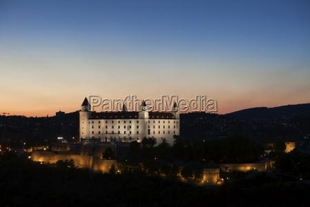 slovakia bratislava bratislava castle at twilight