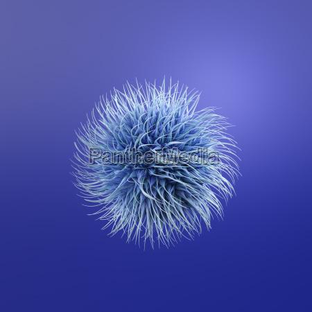 hairy blue ball 3d rendering