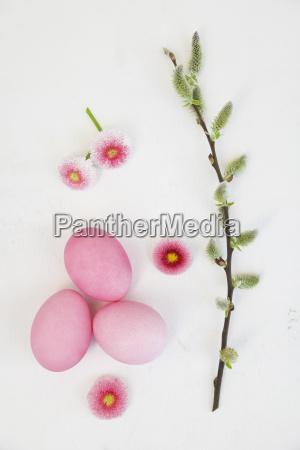 handgefaerbt rosa ostereier mit gaensebluemchen und