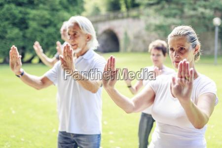 gruppe senioren die tai chi in