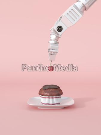 3d rendering roboterarm verlegeerkirsche auf cupcake
