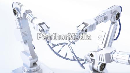 3d rendering robot arms repairing dna