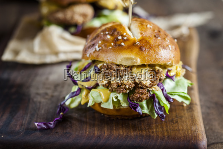 vegetarian burger with fried cauliflower lettuce