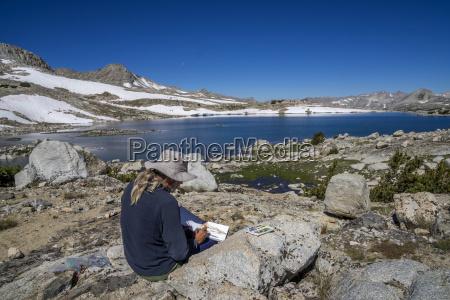 mann aquarell am muriel lake in