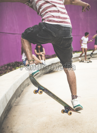 close up of a skateboarder performing
