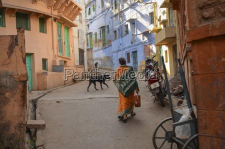urban street in rajasthan india rear