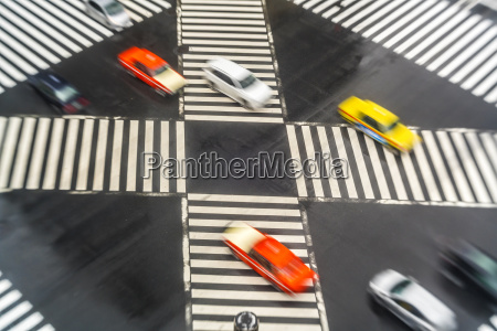 high angle view of cars driving