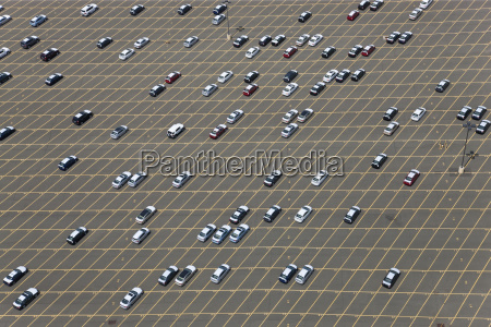 aerial view of large car park
