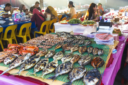 high angle view of grilled fish