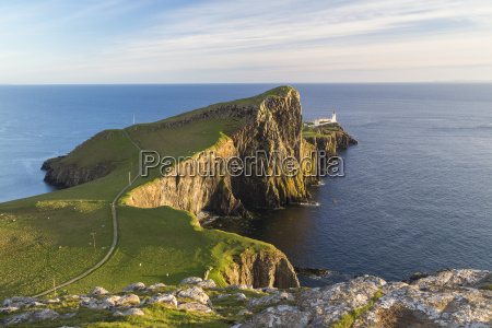high angle view towards lighthouse on
