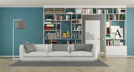 modernes, wohnzimmer, mit, bücherregal - 23583674