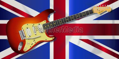union jack flagge und e gitarre