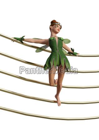 3d rendering green fairy on music