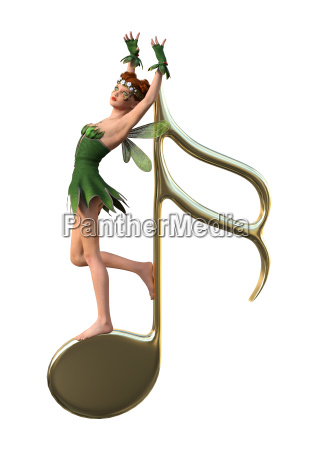 3d rendering green fairy and music