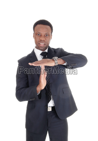 african man signals lets talk together