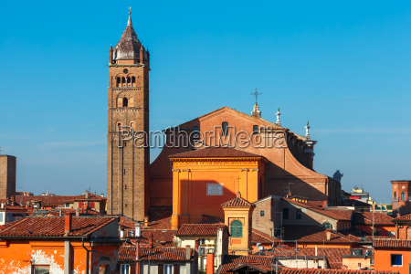 aerial view of bologna cathedral in
