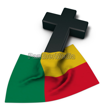 christian cross and flag of benin