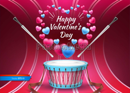 valentine day card with drum vector