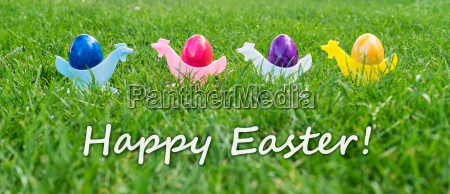 eastercard with colorful easter eggs in