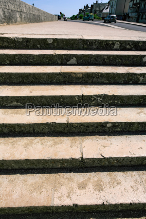 pedestrian steps on bridge in amboise