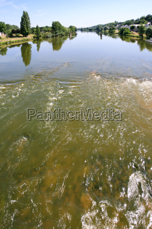 water stream of loire river in