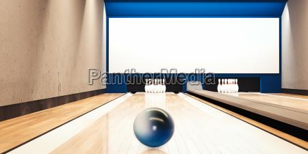 bowlingbahn mit ball 3d rendering