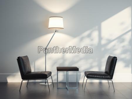 zwei ledersessel in modernem interieur 3d