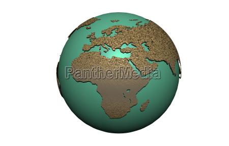 erdkugel mit ozeanen und kontinenten