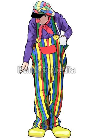 clown mit farbenfroher hosen pointing