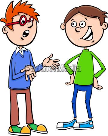 boys kid characters talking cartoon illustration
