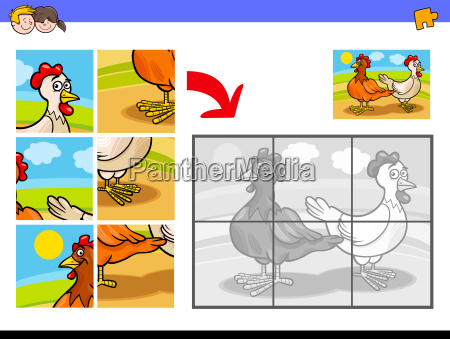 jigsaw puzzles with two chickens farm