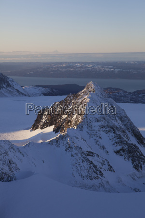 aerial view of kenai mountains near