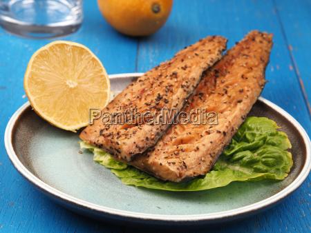 smoked mackerel on a plate