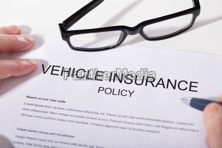 elevated view of vehicle insurance policy