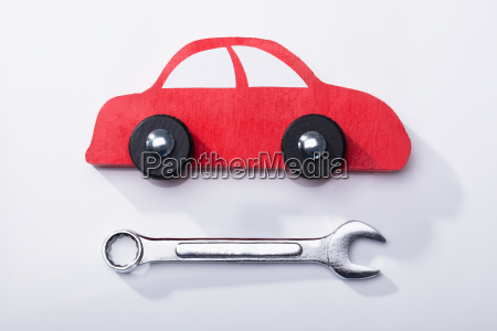 elevated view of red car and