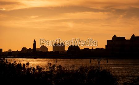 urban warm sunset in a city