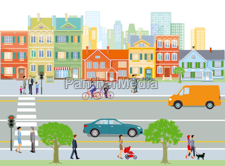 city with road traffic and pedestrian