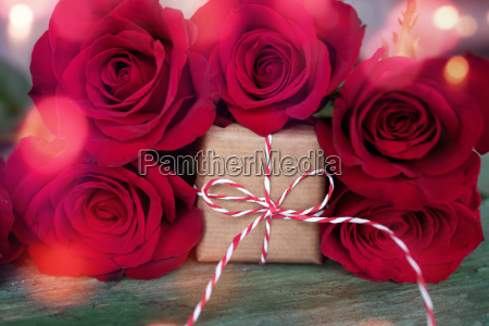 red roses with gift and bokeh