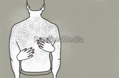 rear view of shirtless man with