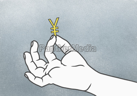 cropped hand of man holding yuan